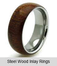 Steel Wood Inlay Rings