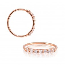 Rose Gold Plated Sterling Silver 7 CZ Hoop Endless Nose Ring 20g