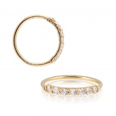 Gold Plated Sterling Silver 7 CZ Hoop Endless Nose Ring 20g