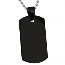 Black Stainless Steel Plain Military Style Dog Tag Pendant