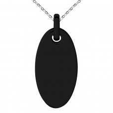Black IP Plated Stainless Oval Circle Charm Pendant Necklace