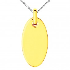 Gold Plated Stainless Oval Circle Charm Pendant Necklace