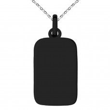 Black IP Plated Stainless Rectangle Dog Tag Charm Pendant Necklace