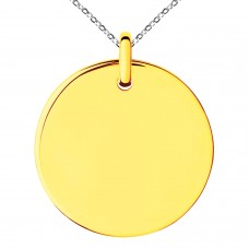 Gold Plated Stainless Steel Medallion Circle Charm Pendant Necklace