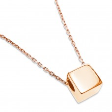 Rose Gold Plated Stainless Steel Small 3D Cube Charm Pendant Necklace