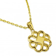 Gold Plated Stainless Steel Flower Celtic Knot Charm Pendant Necklace