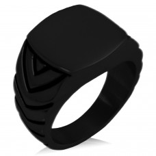 Black IP Plated Stainless Steel Chevron Pattern Biker Style Polished Ring