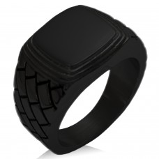 Black IP Plated Stainless Steel Geometric Pattern Step-Down Biker Style Polished Ring