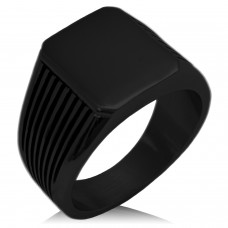 Black IP Plated Stainless Steel Needle Stripe Pattern Biker Style Polished Ring