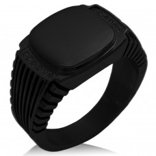 Black IP Plated Stainless Steel Clear Cubic Zirconia Ribbed Needle Stripe Pattern Biker Style Polished Ring