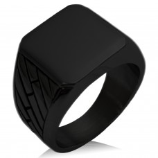 Black IP Plated Stainless Steel Geometric Pattern Biker Style Polished Ring