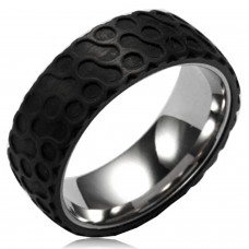 Stainless Steel Two Tone Circular Foam Forge Carbon Fiber Overlay Ring