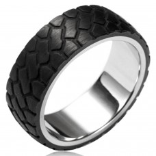 Stainless Steel Two Tone Off Road Tire Forge Carbon Fiber Overlay Ring