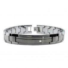 Tungsten Bezel CZ Identifcation Link Bracelet