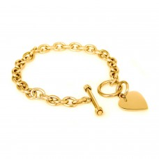 Gold Plated Stainless Steel Heart Tag Charm Toggle Bracelet