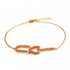 14K Rose Gold Plated Sterling Silver I Heart U Bracelet