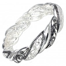 Antique Silver Plated Black and Silver Filligree Brass Bangle