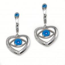 Sterling Silver Evil Eye Heart Earrings