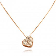 14K Rose Gold Plated Sterling Silver Glittering Heart Drum Pendant Necklace