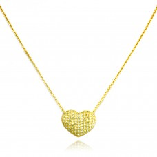 18K Yellow Gold Plated Sterling Silver Cubic Zirconia Heart Charm Necklace