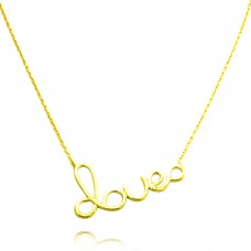 18K Yellow Gold Plated Sterling Silver Love Ending in Infinity Charm Necklace
