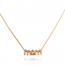 14K Rose Gold Plated Sterling Silver MOM Necklace