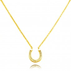 14K Gold Plated Sterling Silver Small Horseshoe Charm Necklace
