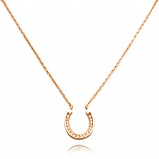 14K Rose Gold Plated Sterling Silver Small Horseshoe Charm Necklace