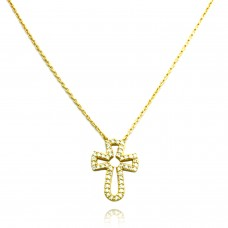 18K Yellow Gold Plated Christian Cross Necklace