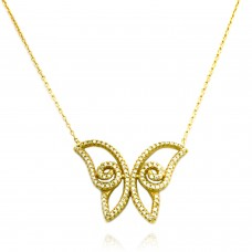 18K Yellow Gold Plated Sterling Silver Large Butterfly Necklace