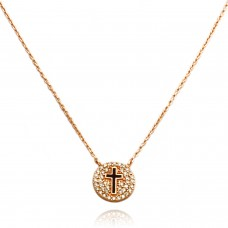 14K Rose Gold Plated Sterling Silver Cubic Zirconia Small Cross Medallion Necklace