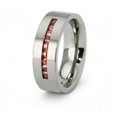 Titanium Garnet Cubic Zirconia Bar Ring