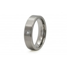 6mm Titanium Satin Finish Cubic Zirconia Ring