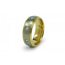8mm Titanium Golden Cubic Zirconia Wedding Ring