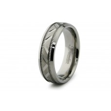 6.5mm Diamond Cut Titanium Ring