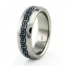 8mm Titanium Ceramic Celtic Laser Design Ring