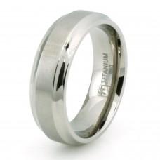 Classic Titanium Concave Edge & Brushed Center Ring