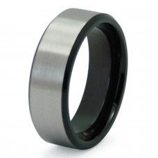 Stainless Steel Two-Tone Satin Finish Ring