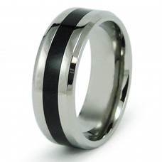 Stainless Steel Black Resin Inlay Ring