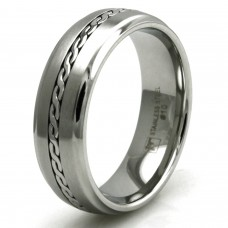 7mm Stainless Steel Satin/Polish Finish Cable Chain Inlay Design Ring