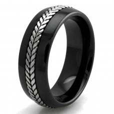 Wheat Rope Inlay Design Ceramic Wedding Band Ring