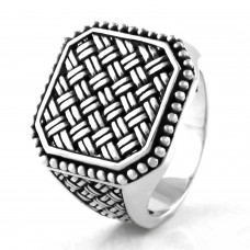 925 Sterling Silver Ancient Weave Pattern Ring