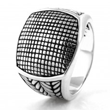 925 Sterling Silver Seamless Monochrome Pattern Ring