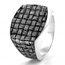 925 Sterling Silver Gingham Weave Pattern Ring
