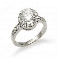 Sterling Silver Centerpiece Solitaire Cubic Zirconia Ring