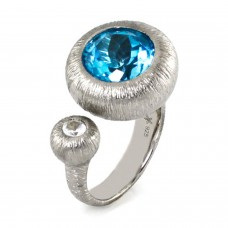 Sterling Silver Abstract White Sapphire Blue Topaz Cocktail Ring