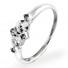 Sterling Silver Bouquet Cubic Zirconia Design Ring